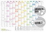 Abwischbarer Wandkalender 2020 groß [Rainbow] 89 cm x 63 cm (größer als A1), gerollt   15 Monate: Nov 2019 - Jan 2021   Wandplaner mit Ferien- und Feiertage-Übersicht, FSC®-Papier