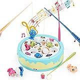Angelspiel Elektrisch - Fische Angeln Spielzeug Indoor Familie Mini Angelrute Brett Fisch Spielzeug Kit Musikspielzeug Kleine Ostern Geschenke für Kinder ab 3 4 5 Jahren Mädchen
