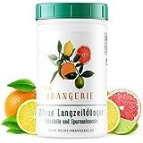 Meine Orangerie - Zitrus Langzeitdünger [1kg] - Profi Zitruspflanzendünger - Gleichmäßige Langzeit-Wirkung für 6 Monate - Langzeit Zitrusdünger für Citruspflanzen und mediterrane Pflanzen
