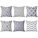 Topfinel 6er Set Kissenbezüge 45x45 cm Qualitäts Kissenhüllen in Segeltuch mit Geometrischen Mustern für Sofa Auto Terrasse Zierkissenbezüge Serie Grau und Weiß