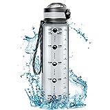 Cocoda Trinkflasche 1L mit Abnehmbarer Obstfilter, Wasserflasche mit Zeitmarke, BPA Frei Auslaufsichere Tritan Sportflasche Kohlensäure Geeignet, Leicht Water Bottle für Kinder, Schule, Fitness, Yoga