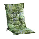 Sesselauflage Sitzpolster Gartenstuhlauflage für Mittellehner | 50 cm x 110 cm | Grün | Palmenmotiv | Baumwolle | Polyester