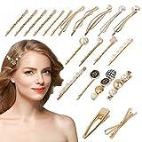AirSMall 21STK Haarspangen Damen Set Perle Haarklammern Vintage Haarnadeln Gold Haar Zubehör für Hochzeit Valentinstag Geburtstage Geschenke