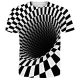 NEWISTAR Unisex Jugend 3D Druck Grafik Casual Kurzarm T-Shirt , Square, L