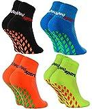 Rainbow Socks - Jungen Mädchen Neon Sneaker Sport Stoppersocken - 4 Paar - Schwarz Orange Grün Blau - Größen: EU 30-35