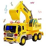HERSITY Bagger Spielzeug mit Sound und Licht Baufahrzeug Sandkasten LKW Kinderspielzeug Geschenk für Kinder Jungen 3+, 1:16 Autospielzeug