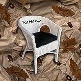 Rattan-Sessel Weiß Esszimmersessel Korb-Sessel Rattanmöbel Rattansessel Rattanstuhl Polster