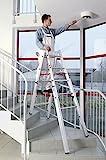Euroline 3057606 Treppenleiter Stehleiter für Treppen ausziehbar Treppenfunktion, alu, 2 x 6 Stufen