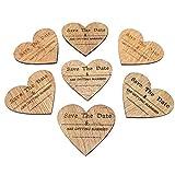 """Kühlschrankmagnete aus Holz in Herzform mit englischer Aufschrift """"Save The Date"""", ideal für Hochzeitseinladungen, Dekoration, im Vintage-Stil 80mm x 70mm braun"""