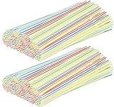 com-four® 400 Flexible Trinkhalme, Strohhalme in verschiedenen bunten Farben (400 Stück - bunt gestreift V2)