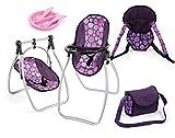 Bayer Design 63694AB Zubehör-Set mit Sitz, Tragegurt, Tasche und Essgeschirr Pflaume-für Puppen bis ca. 46 cm