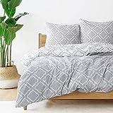 Bedsure Bettwäsche 155x220 cm weiße Bettbezug Set mit Gitter Muster, 3 teilig microfaser Bettwäsche warme& atmungsaktive Bettbezüge mit Reißverschluss und 2 mal 80x80cm Kissenbezug