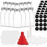 Gewürzgläser Set mit 14 Gläsern und 21 Ausgießern – Glasbehälter mit einer Füllmenge von 170ml – Wiederverwendbare Gläser mit Luftdichtem Deckel – Bedruckte und unbedruckte Label – Mit Stift