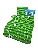 Unbekannt 2 TLG Bettwäsche 135x200 cm Fussball Feld grün weiß Fein Biber Baumwolle B-Ware