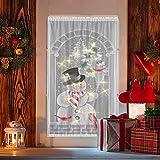 Sarplle Weihnachten Vorhänge Weihnachtsgardine mit LED Beleuchtung Rustikaler Gardine Schneemann Spitze Türvorhang für Küche Badezimmer Tür 102 x 213 cm