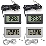 Thlevel Mini LCD Digital Thermometer Temperatur Luftfeuchtigkeit Tester Hygrometer (4 PCS mit extern Sensor)