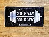 Power Towel das Coole Fitness & Sport-Handtuch mit Einer Botschaft| Größe 50 cm x 100 cm | POWERTOWEL Handtuch Mikrofaser Baumwolle (NO Pain NO GAIN 100% Baumwolle B/W)