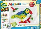 Lena 35614 Steckmosaikspiel Steckern, Mosaiksteine mit Ø von 5 mm, 10 mm und 15 mm, Mosaikspiel mit 4 Steckvorlagen, Steckspiel für Kinder ab 3 Jahre, Mosaik Bastelset 400 Teile, bunt
