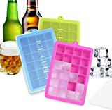 BSET BUY Eiswürfelform Silikon Eiswürfel Form Eiswürfelbehälter Eiswürfelbereiter mit Deckel Ice Tray Ice Cube 24 Fächer, Kühl Aufbewahren BPA frei 3 Stück