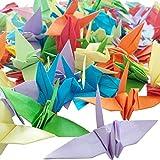 Hangnuo Origami-Kranich-Girlande aus Papier mit Seidenfaden für Hochzeitsparty, Heimdekoration, 100 Stück, Farbe…
