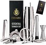 11-Teiliges Boston Cocktailshaker Bar Set von VinoBravo: Gewichteter Cocktail Shaker, Barsieb-Set, Doppeljigger, Barlöffel, Barstößel & Tong, 2 Spirituosenausgießer & Cocktailrezeptbuch