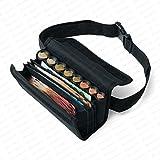 Securina24 Kellnertasche Kellnerbörse mit 8 Fach Euro - Geldwechsler - Tragegurt (schwarz)