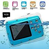 AMTSEE Kinderkamera Wasserdicht 21MP HD Digitalkamera 2,0 TFT LCD Bildschirm Kamera für Kinder 8-facher Digitalzoom Spielzeug für Children16GB TF Kartenaufzeichnung Camcorder Unterwasser 3M Video Mini