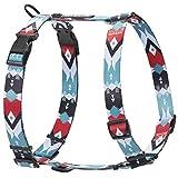 HAVNBERG Hundegeschirr für kleine, mittel große und große Hunde, Brustgeschirr, H-Geschirr, schwarz, rot, türkis, weiß, Navajo Design Größen S, M, L (Navjao, L)