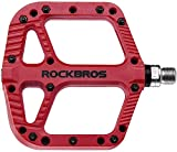 ROCKBROS Fahrradpedale Nylon Composite Flatpedale 9/16 Mountain Bike Pedale 3 Bearing rutschfest Wasserdicht Anti-Staub (Rot 2)