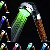 Duschkopf Led Farbwechsel Wassersparend Handbrause, Amison 7 Farbe Automatisch Temperatur Hochdruck Anion Filter Duschkopf