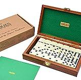 Jaques of London Domino - Domino Spiele - Sechs Domino Set in Mahagoni-Etui - Spiel des Jahres