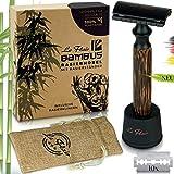 Le Flair® Rasierhobel Set - Nassrasierer inkl. 10 Klingen - Zero Waste Leaf Razor - Rasier Hobel Nachhaltig - Einklingen Rasierer für Herren und Damen - Schwarz Matt