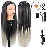 Übungskopf für Frisöre, MYSWEETY 75cm 100% Kunstfaserhaar Trainingskopf für Kinder Training, mit Haar Styling Zubehör, Dunkle Wurzel Blond Haar