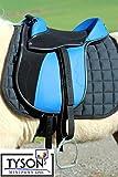 Ponysattel Sattel Minishetty Shetty Mini Pony Pink Schwarz oder Blau 10 12 Zoll incl Zubehör Sattelset SET Tysons auch f. Holzpferd geeignet (12 Zoll, Blau / Schwarz)
