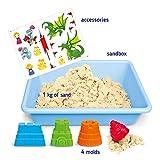 GenioKids Smart Sand Feenschloss Kinetischer Sand fur Mädchen Jungen Toddler Kindergarten 4 Formen Sandkasten 1kg