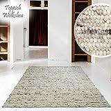 Handweb-Teppich | Reine Schur-Wolle im Skandinavischen Design | Wohnzimmer Esszimmer Schlafzimmer Flur Läufer | Kiesel - 130 x 190 cm