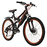 KS Cycling Jugendfahrrad Mountainbike Fully 24'' Bliss schwarz-orange RH 38 cm