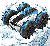 LUOWAN Amphibien Ferngesteuertes Auto, 2.4GHz 4WD Spielzeugauto mit Hochgeschwindigkeit, 360 Grad drehbar, Kinder(Blau)