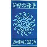 Delindo Lifestyle® Frottee Strandtuch Tropical Sun BLAU, 100% Baumwolle, Strandlaken ist 100x180 cm groß
