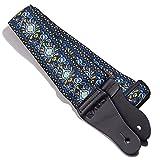 kliq Vintage Gitarrengurt gewebt für akustische und elektrische Gitarren   60er Jacquard Weave Hootenanny Style   2Gummi enthalten Gurt Schlösser Hendrix Blue