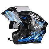 JIAND Bluetooth Helm Motorrad Full Face Klapphelm, Motorradhelm mit doppelter Linse (Schwarz Blau 54-64CM),XXXL