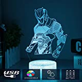 3D LED Lampe mit Motiven aus festungslampe, 3d illusion lampe Stimmungslampe, Battle Royale, mit 7 Farben Farbwechsel, Acryl, Stereo Illusion Tischlampe Crack Omega