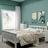 Holzbett 140 * 200 cm, Bis 200 kg, Doppelbett mit Lattenrost, Vollholz Doppelbett Bettgestell mit Kopfteil (weiß) - Nur Bettgestell