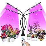 SUPCHON Pflanzenlampe, 4 Heads Pflanzenlicht 40W Led Pflanzenlampe mit Timer 4H, 8H, 12H, RF-ControllerLed Grow Lampe 9 Arten von Helligkeit Led Pflanzenleuchte für Zimmerpflanzen Gartenarbeit