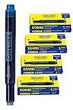 Online 20x Kombi-Tintenpatronen blau, 20 Stück (Universal-Patronen, kompatibel mit allen gängigen Füllern, auch Lamy-Füller, Ersatz-Patronen, löschbar, auswaschbar, auch für Tintenpatronen-Rollerbälle) Vorteilspack königsblau
