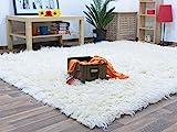 Flokati Teppich Qualität 1500 natur Kult Shaggy Teppich Hochflor Langflor 100% Schurwolle, Größe: 70x140 cm