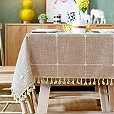 Topmail Rechteckige Tischdecke Tischwäsche abwaschbare Tischtuch aus 80% Baumwolle und 20% Leinen Geeignet für Home Küche Dekoration (Khaki, 140 x 180 cm)