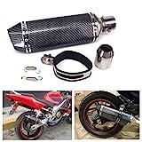 JFG RACING Universal 1.5-2'Einlass Slip On Auspuff Schalldämpfer mit abnehmbaren DB Killer für Street Bike Motorrad Roller - Carbon Fiber Farbe