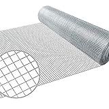 Amagabeli 0.5M X 25M Wühlmausgitter Volierendraht Maschendraht Kaninchendraht 12.7mm verzinkt und punktverschweißt Masche Feuerverzinkt Geschweißtes Drahtgeflecht Drahtzaun 0,7mm Zaun Drahtgitter HC01