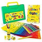 Mimtom Malschablonen für Kinder | 58-teiliges Schablonen Set mit über 370 inspirierenden Formen für viele Stunden Spaß und Kreativität | Kindersicheres Lernspielzeug für Jungen und Mädchen ab 4 Jahren
